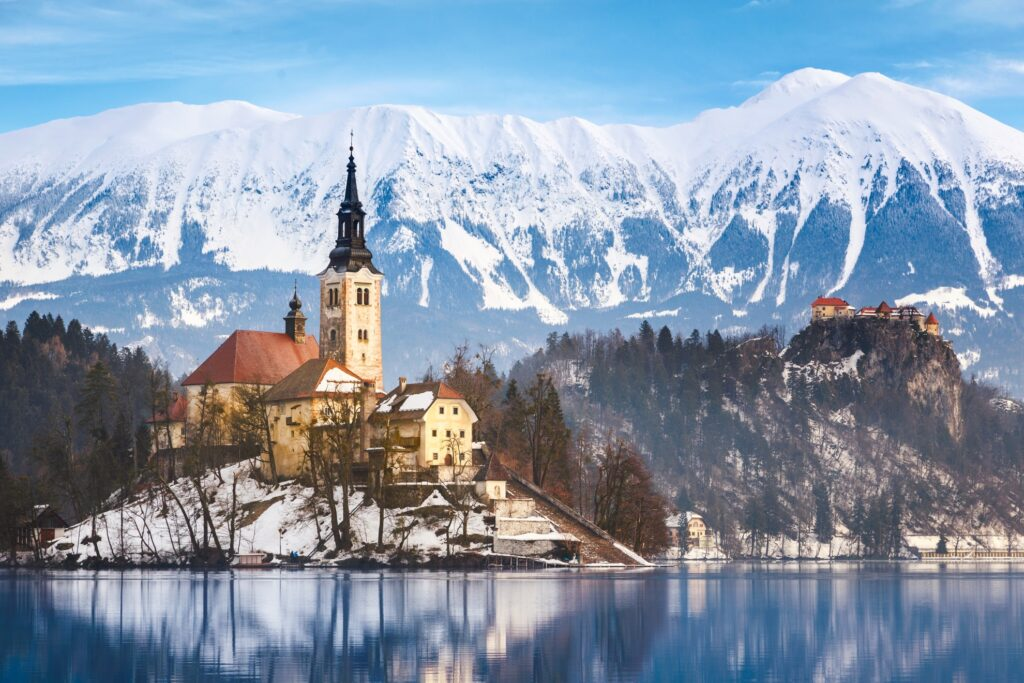 Bled, Slovenia, during the winter time.