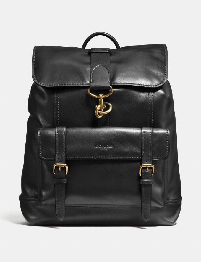 Bleecker Backpack in black/brass.