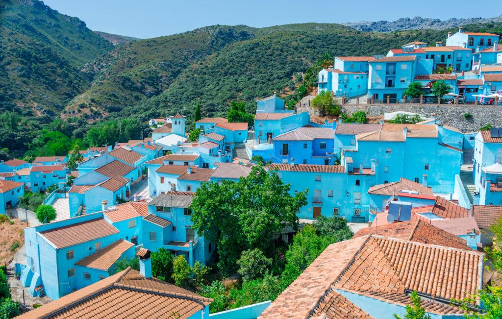 Blue buildings in Juzcar, Spain.