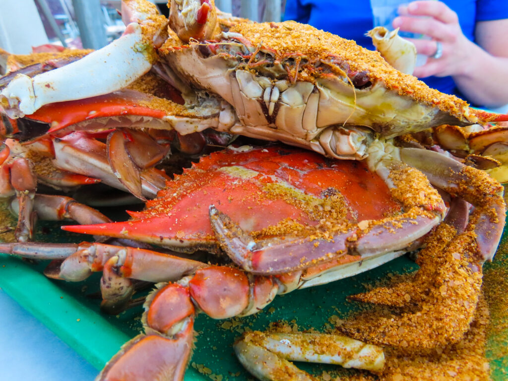Blue crabs from Tim's Rivershore Restaurant & Crabhouse