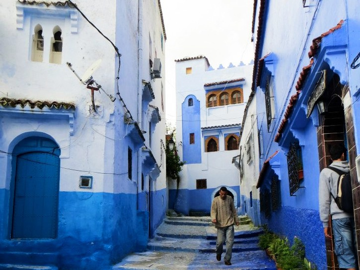 Blue houses line the streets in Chefchaouen.
