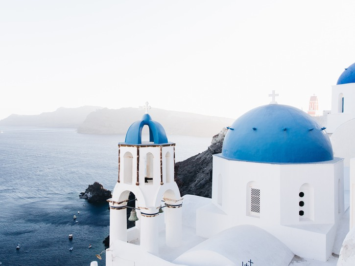 Blue roofs and white washed buildings, Santorini