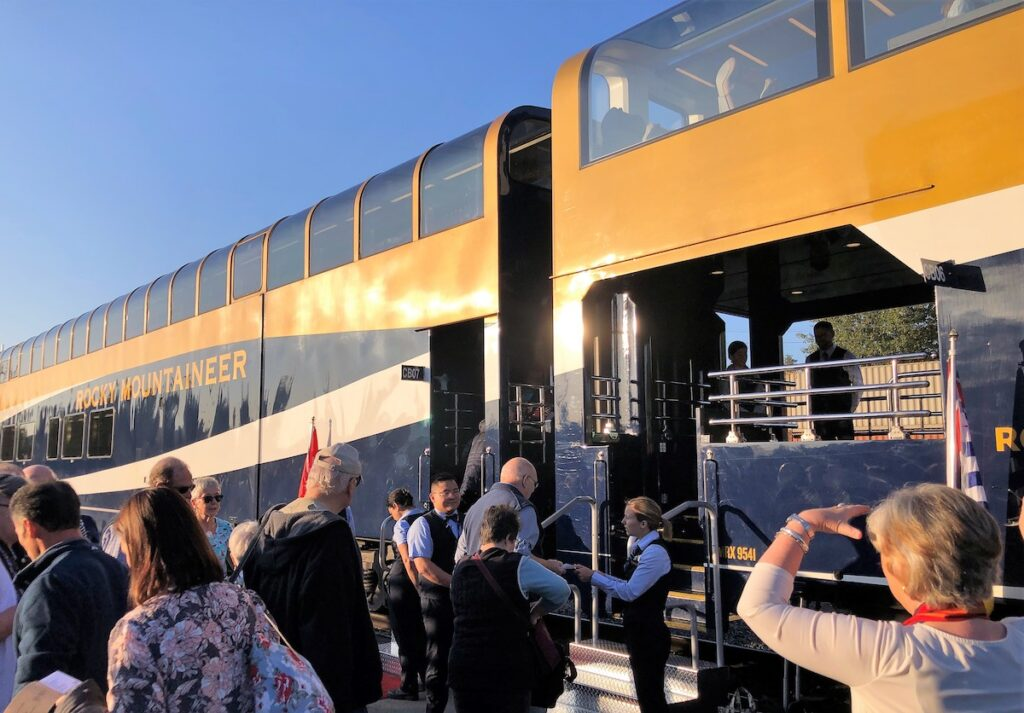 Boarding the Rocky Mountaineer Train.