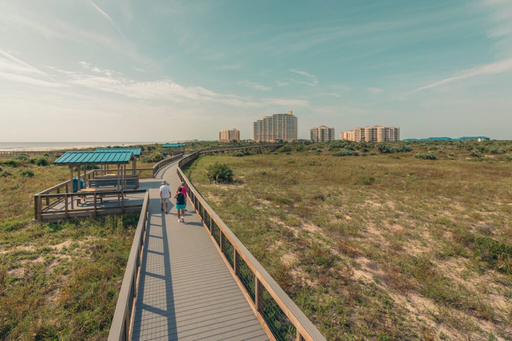 Boardwalk views at Smyrna Dunes Park in Florida.