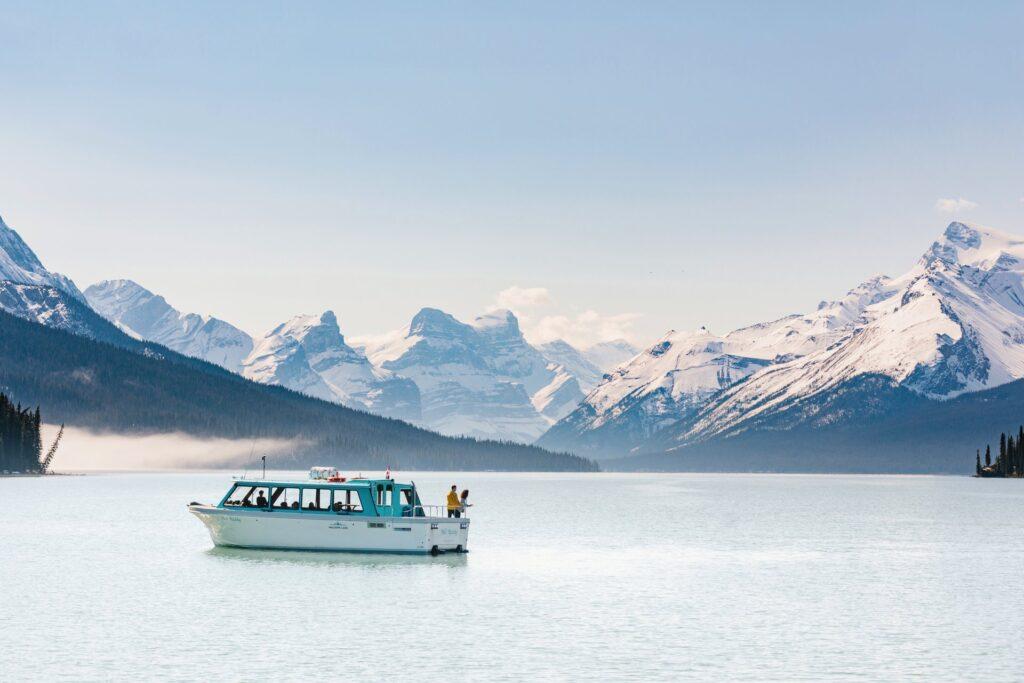 Boat cruise on Maligne Lake.