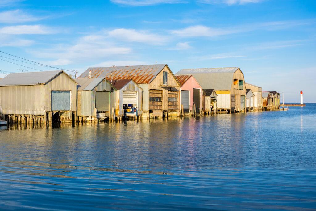 Boat houses in Port Rowan, Ontario.