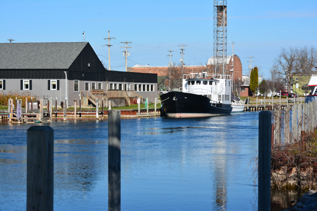 Boat in a canal in Cheboygan.