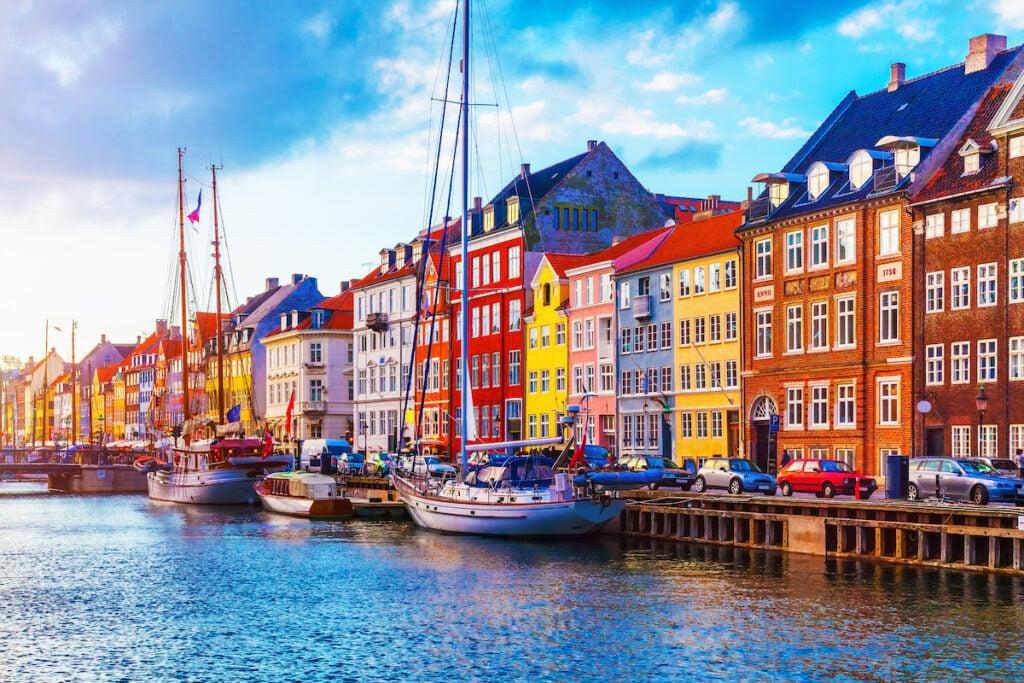 Boats and buildings in Copenhagen, Denmark.