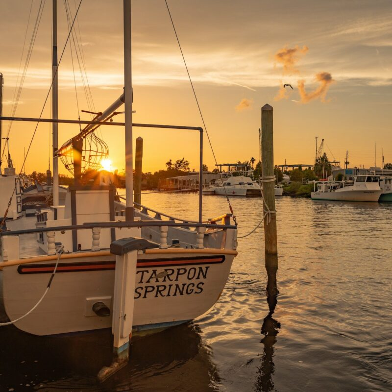 Boats docked at sunset.