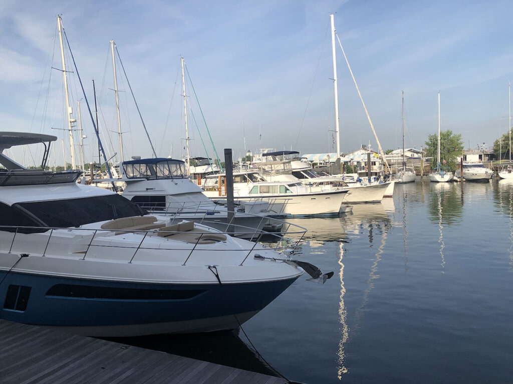 Boats docked in the Morris Canal.