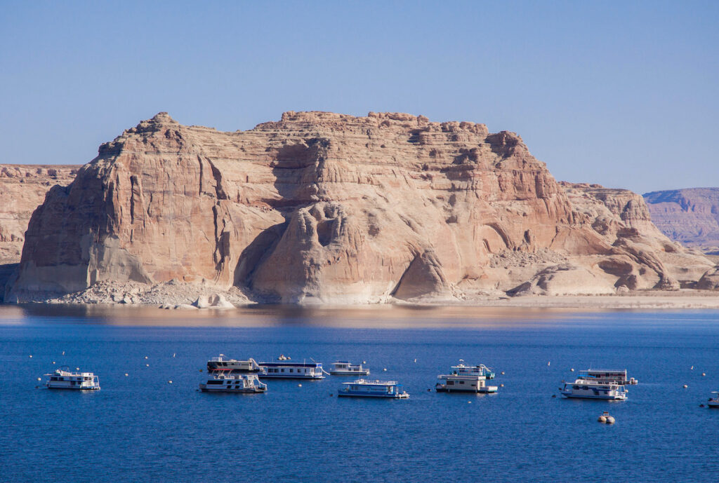 Boats in Lake Powell.