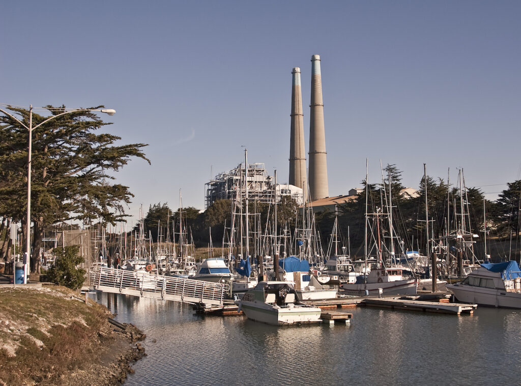 Boats in the harbor at Moss Landing in California.