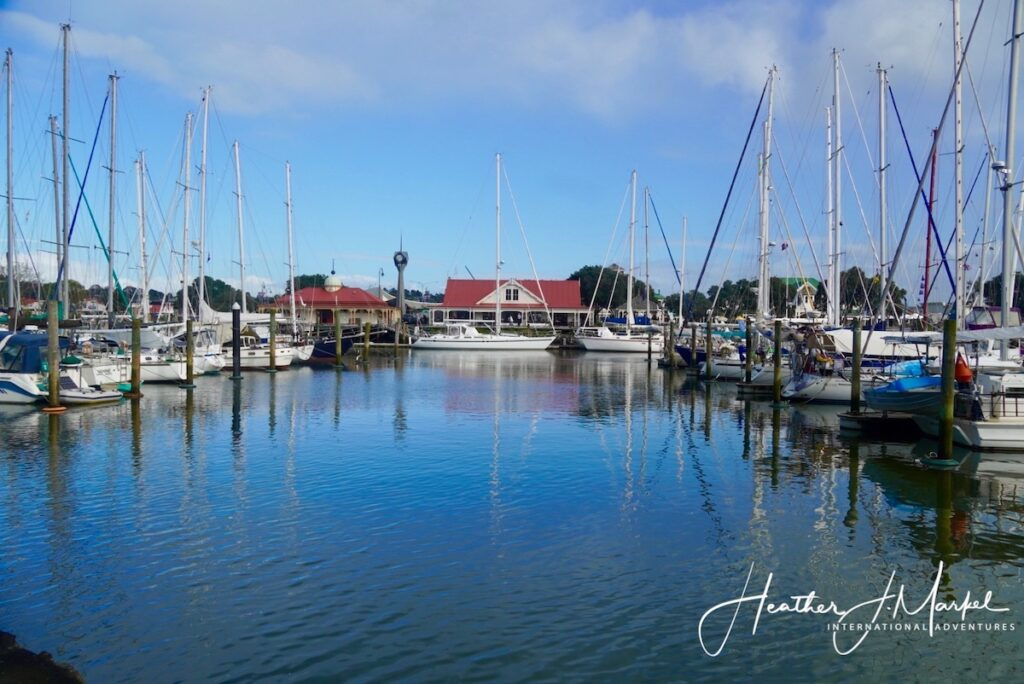 Boats in Whangarei's Town Basin.