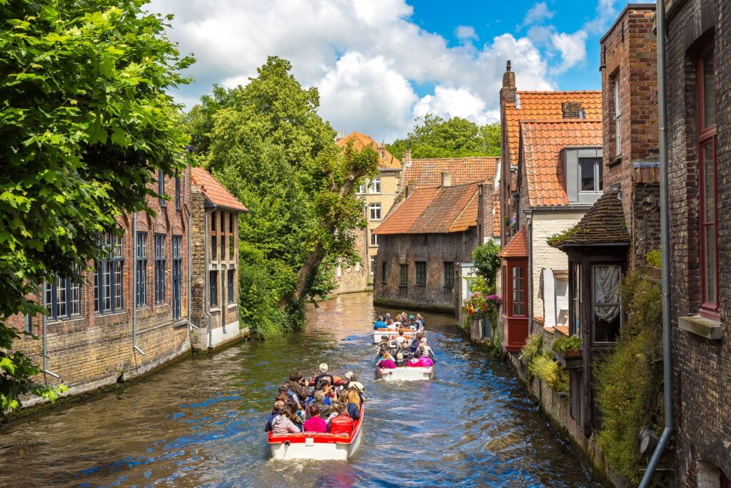 Boats on a canal in Bruges.