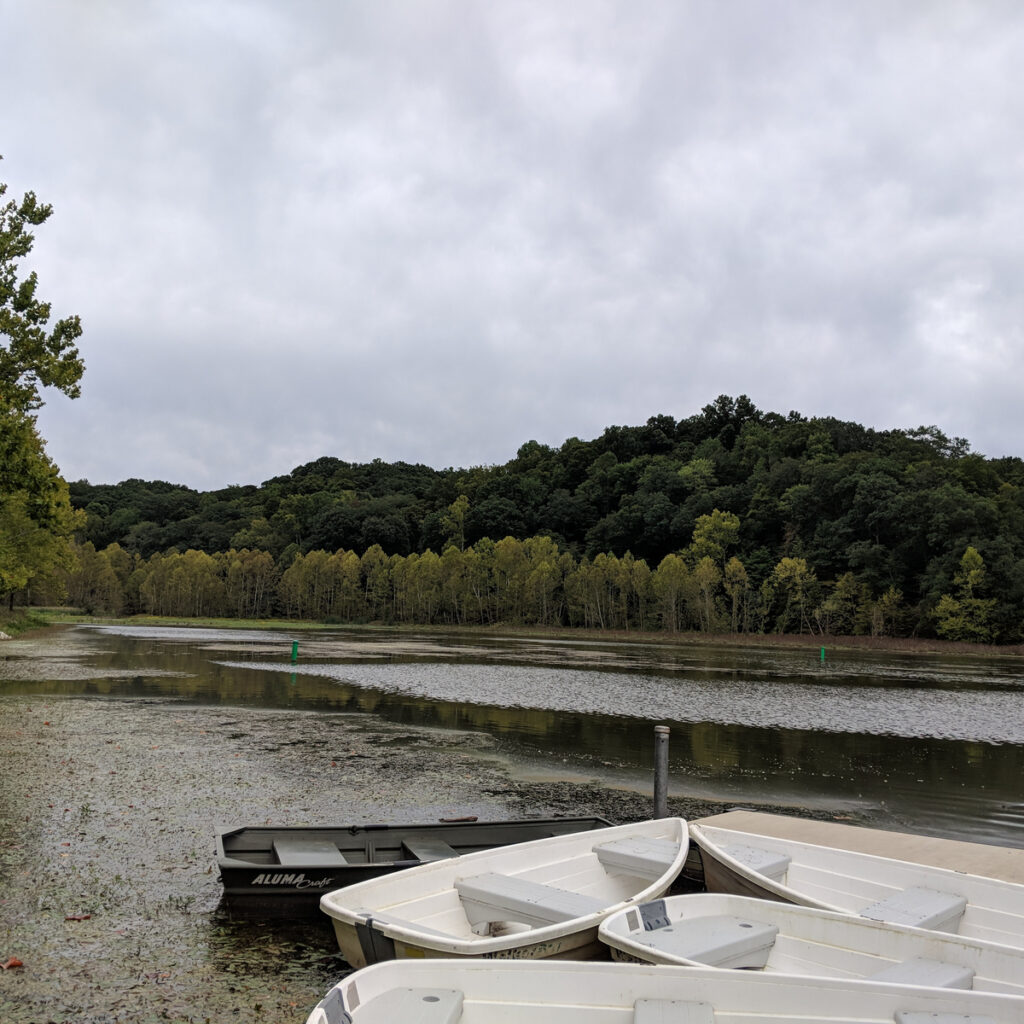 Boats on Griffy Lake in Bloomington.