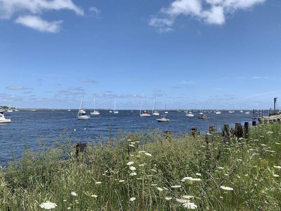 Boats on the water in Newburyport Harbor.