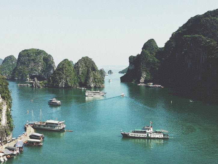 Boats sailing in Ha Long Bay