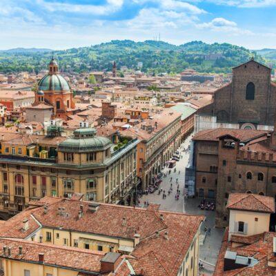 Bologna, Italy, the capital city of the northeast province of Emilia-Romagna.