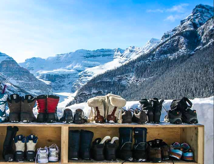 Boots on the shoe rack at Lake Louise.