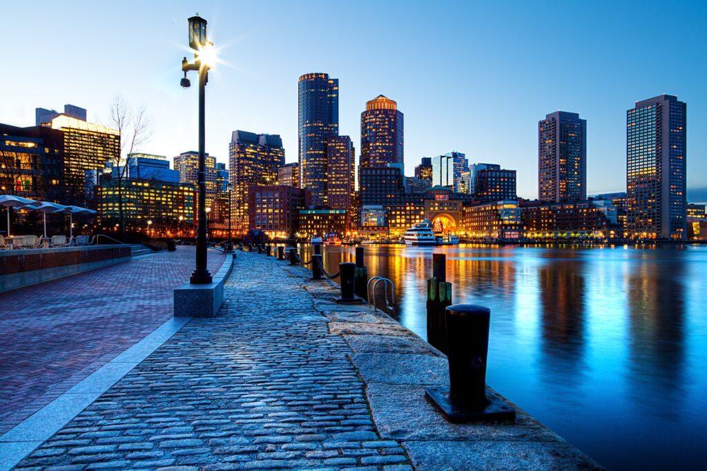 Boston skyline from the harbor.