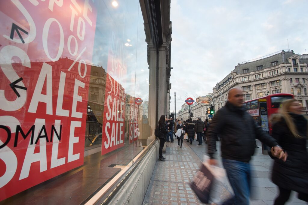 Boxing Day sales on Oxford Street in London.