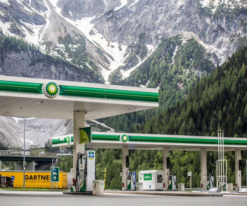 BP gas station in front of mountains