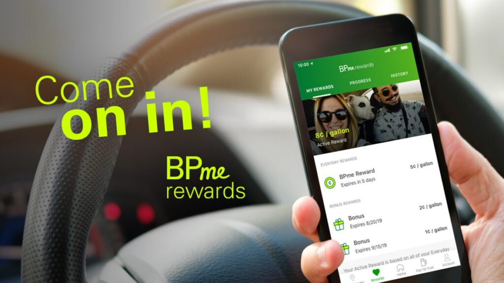 BPme Rewards marketing image with app on cell phone