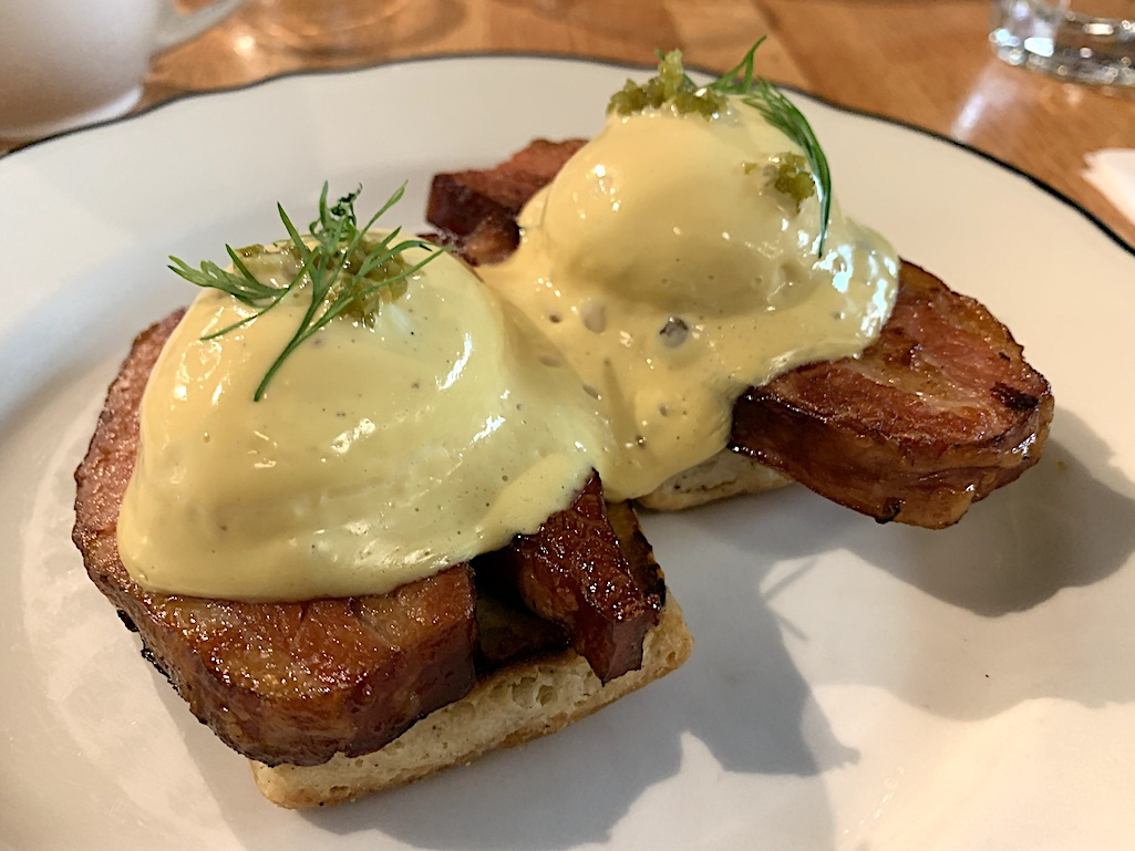 Braised bacon benedict from Clementine Cafe.