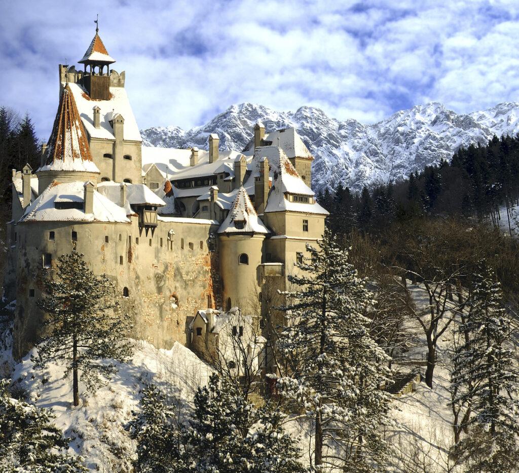 Bran Castle in Romania during winter.