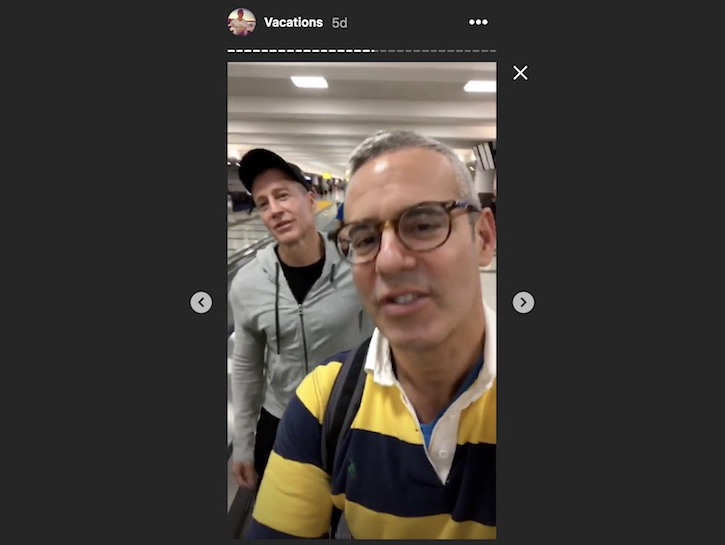 Bravo's Andy Cohen and friend at airport