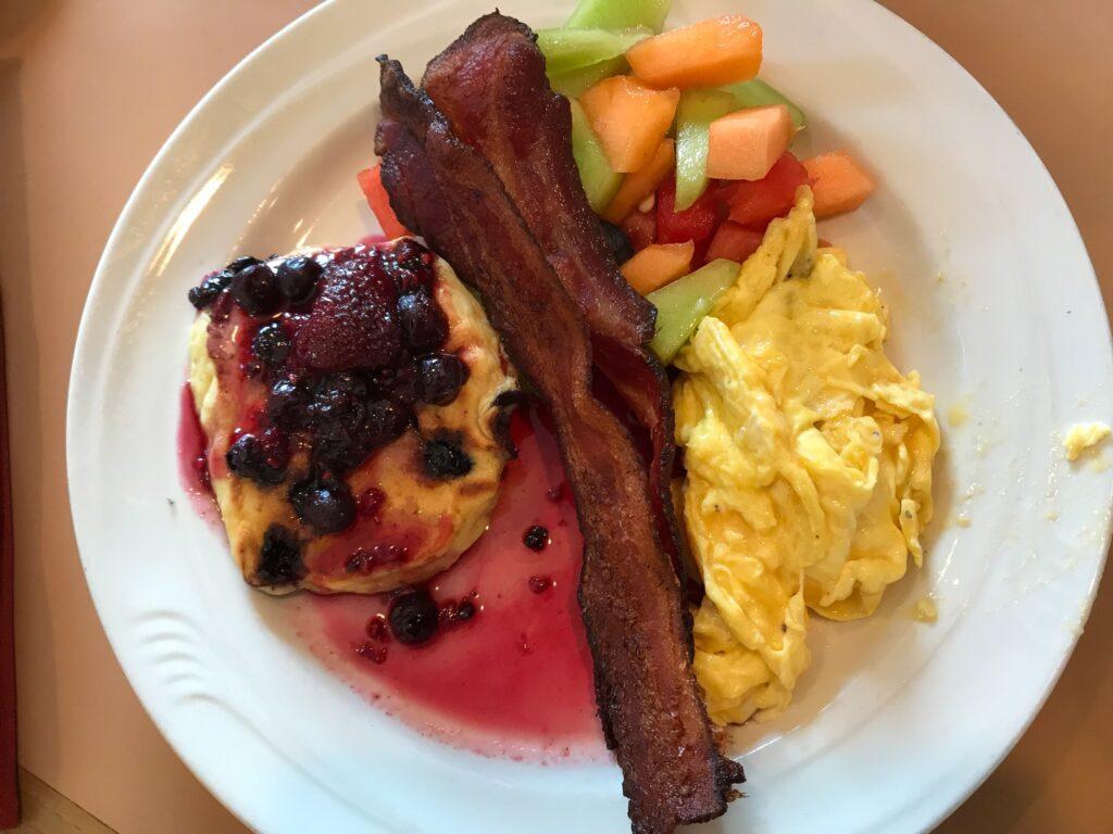 Breakfast offerings on the UnCruise boat in Alaska.