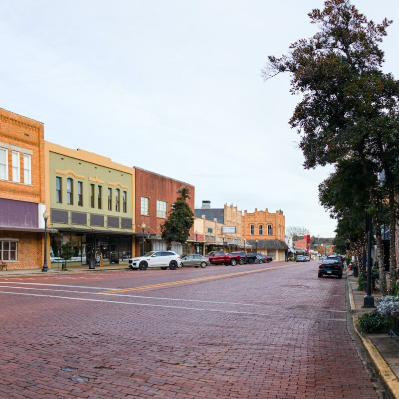 Brick streets in Nacogdoches, Texas.
