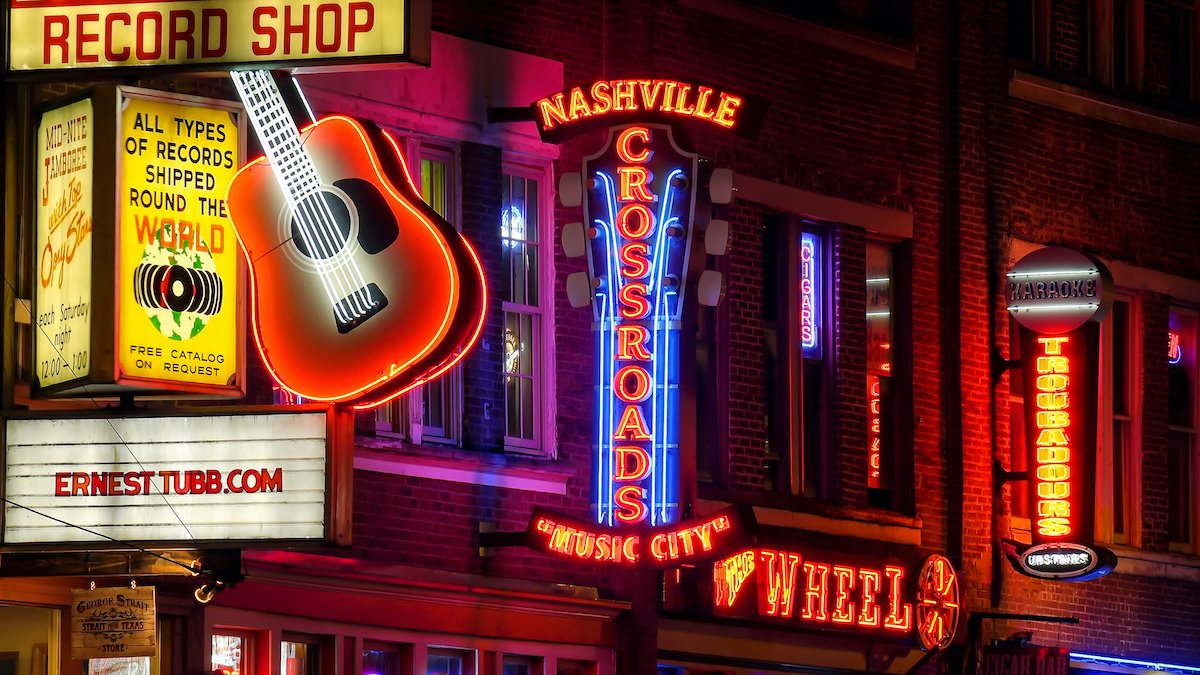 Bright signs in downtown Nashville.