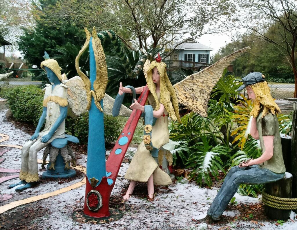 Brightly colored sculptures in Chauvin Sculpture Garden