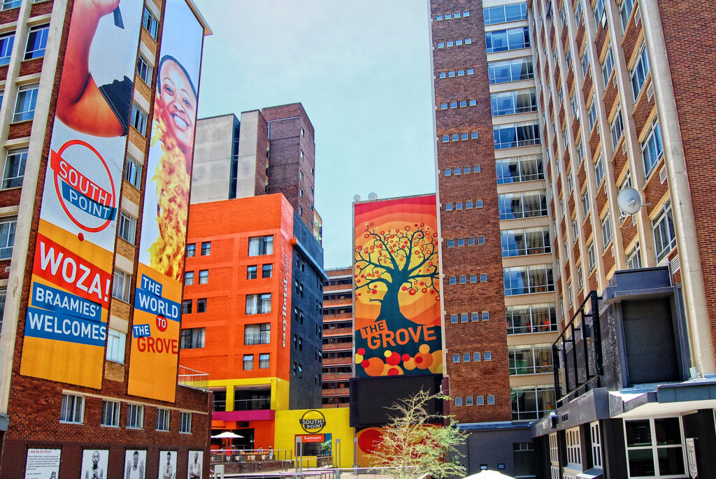 Brightly colored street art in Johannesburg, South Africa