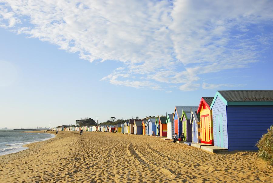 Brighton Beach in Melbourne, Australia.