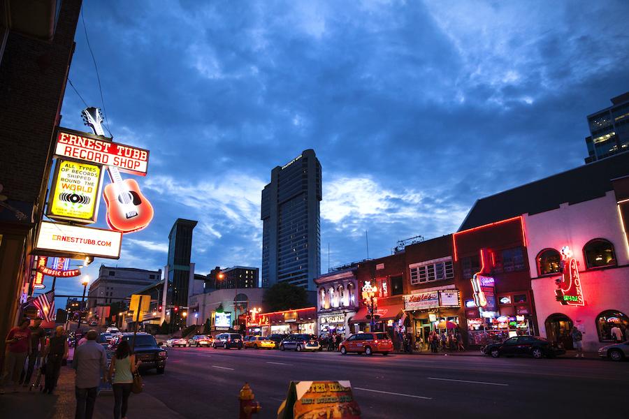 Broadway street in Nashville, Tennessee.