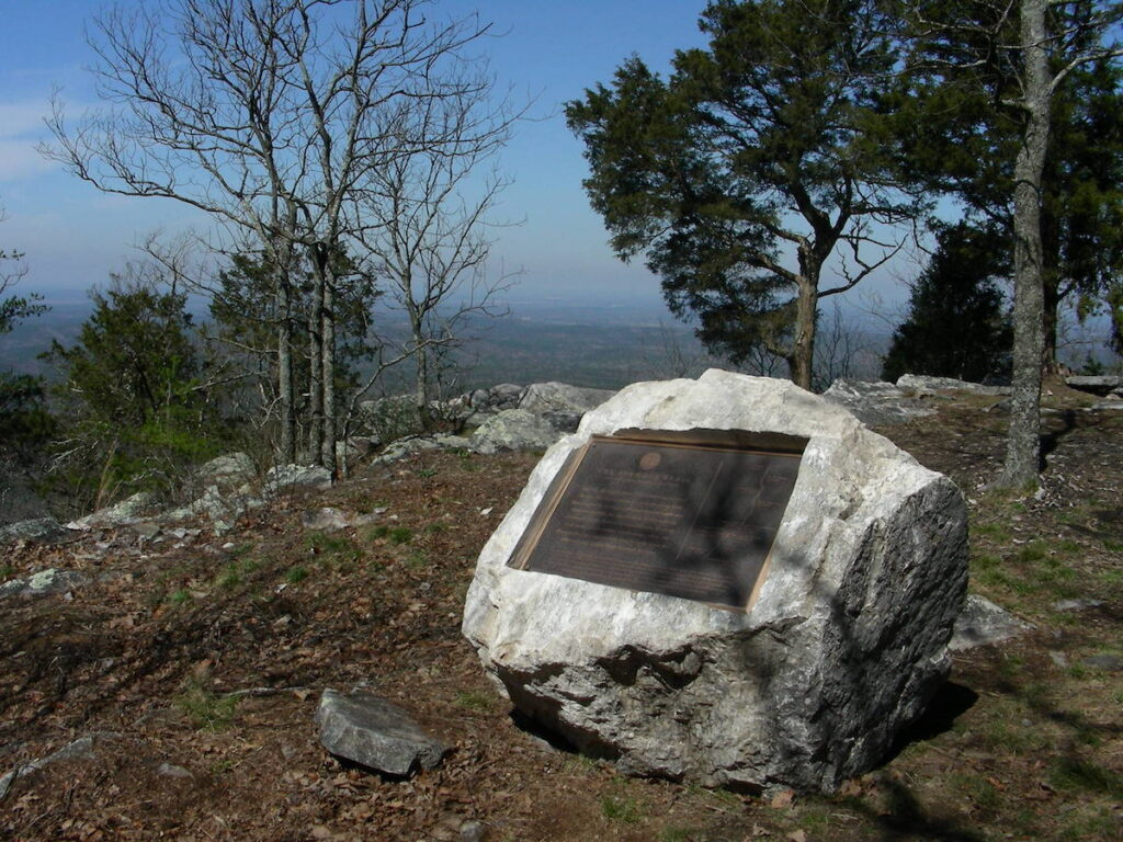 Bronze marker commemorates connection of Pinhoti Trail with Appalachian Trail.