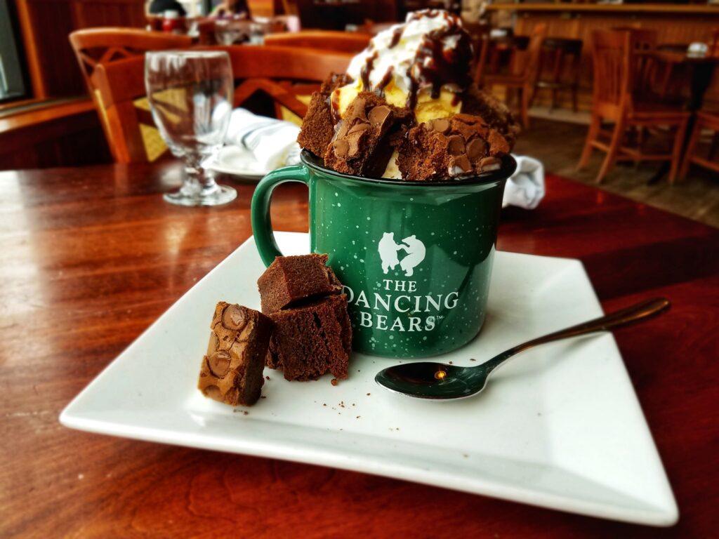 Brownie mug cake from the Dancing Bears Restaurant.