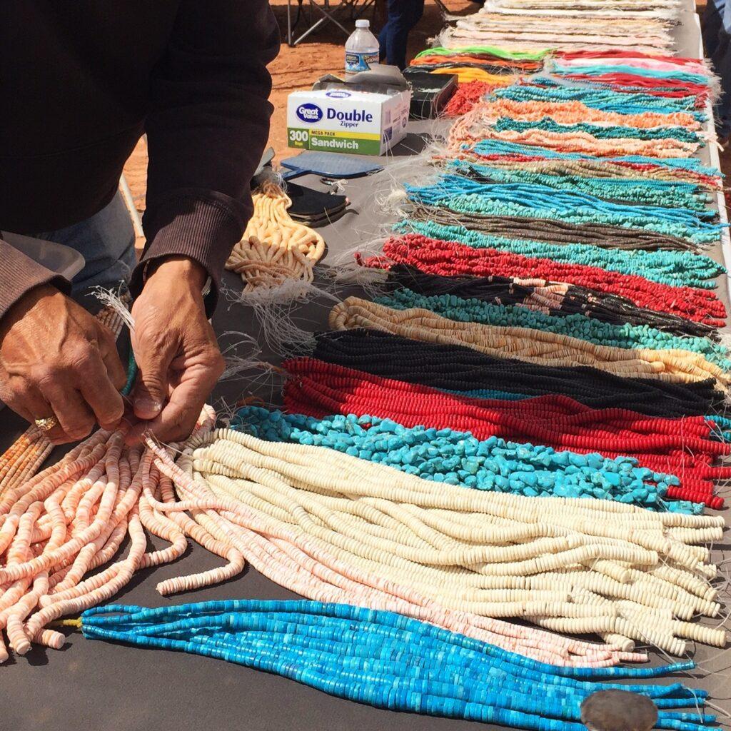 Browsing jewelry at a Navajo Flea Market.