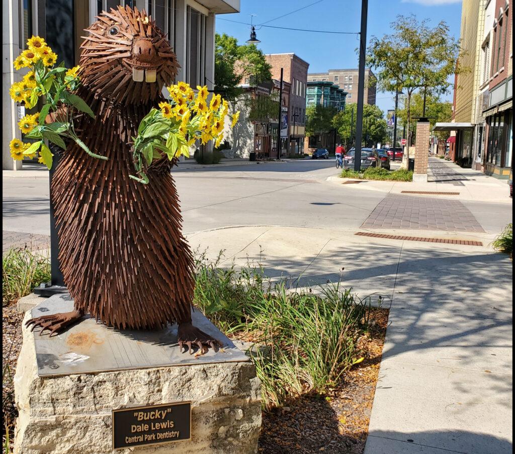 Bucky sculpture in Mason City.