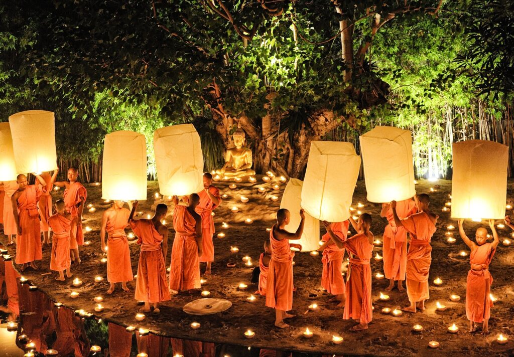 Buddhist monks at the Yi Peng Lantern Festival.