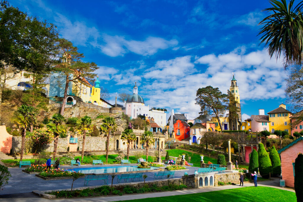 Buildings and gardens in Portmeirion, North Wales.