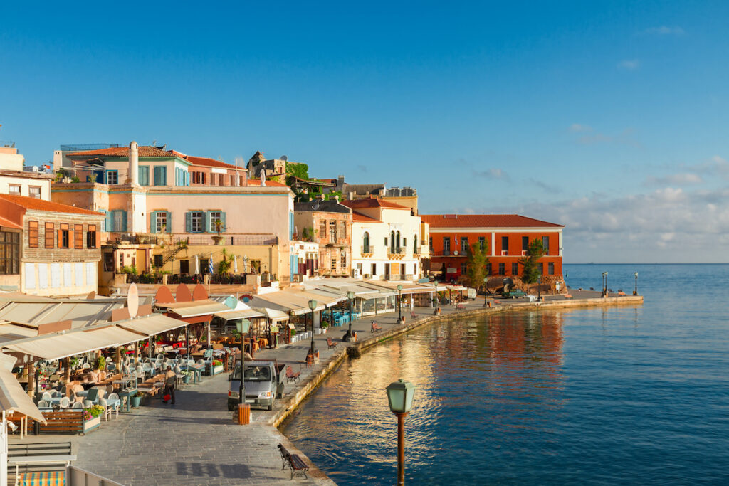 Buildings by the water in Crete.