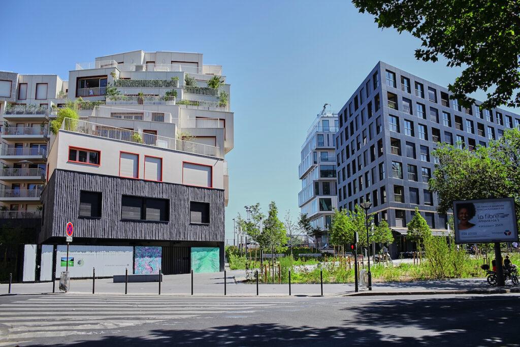 Buildings in the Clichy-Batignolles Ecodistrict of Paris.