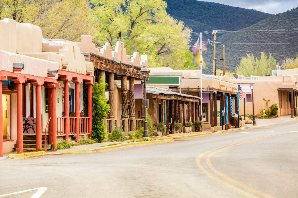Buildings in the town of Tao, New Mexico.