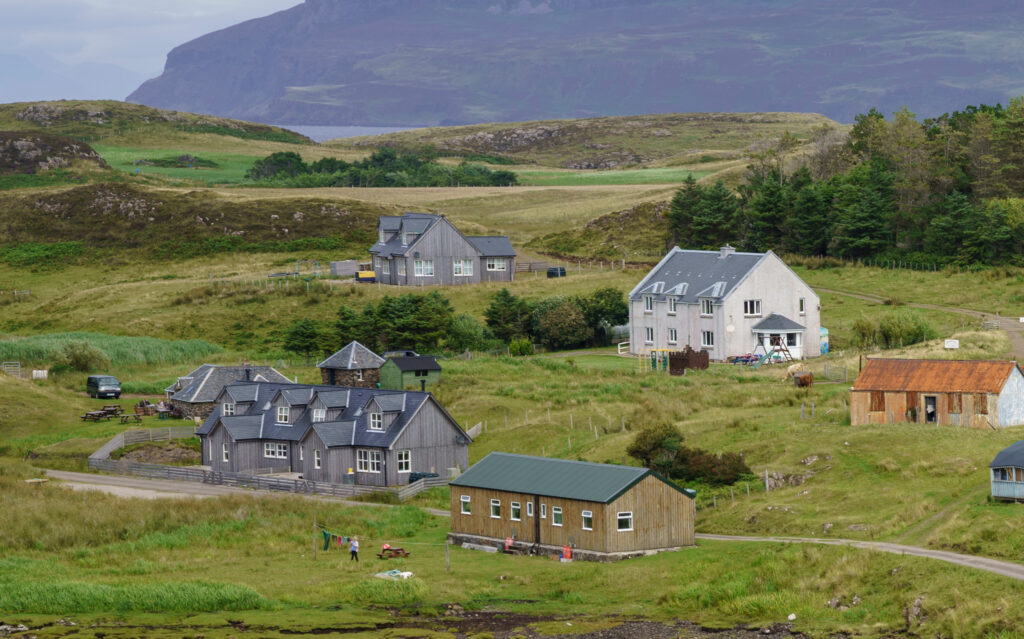 Buildings on the Isle of Muck, including the primary school.