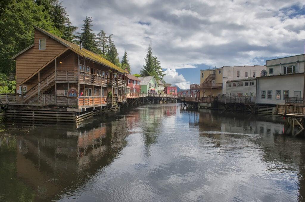 Buildings over the water in Ketchikan, Alaska.