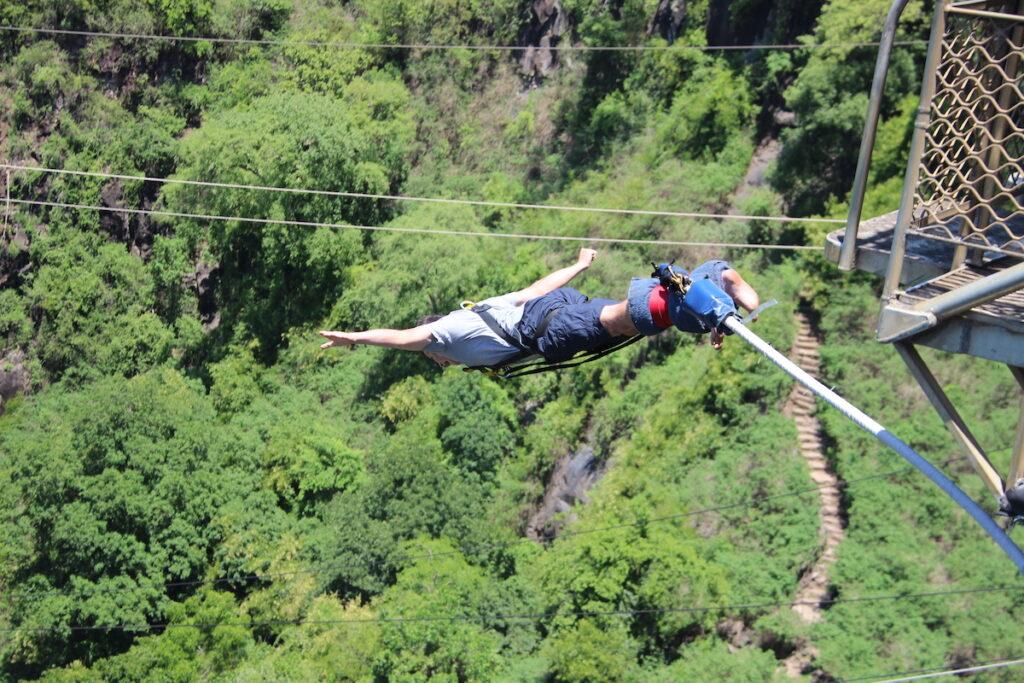 Bungee jumping at Victoria Falls.