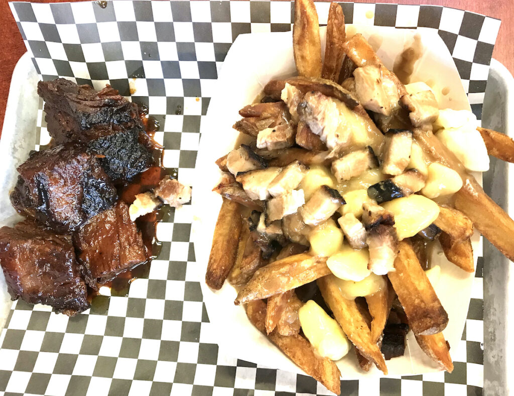 Burnt ends and poutine from Fowler's in Fayetteville.